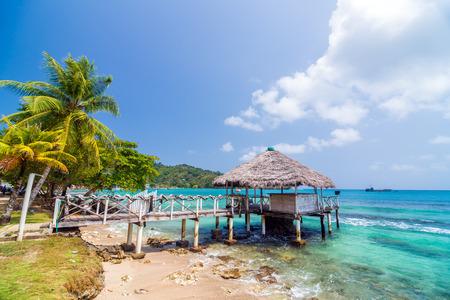 A small wharf in the Caribbean Sea at Sapzurro and Capurgana in Colombia photo