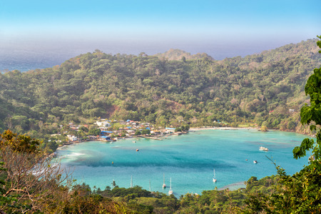 View of the turquoise bay of Sapzurro near Capurgana, Colombia photo