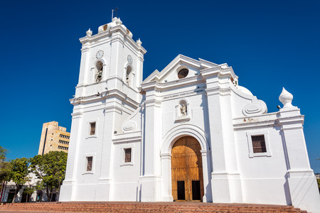 marta: White cathedral of Santa Marta, Colombia with a beautiful deep blue sky