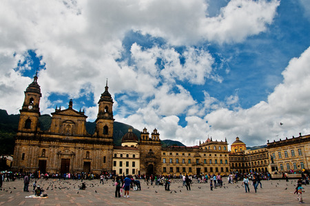 BOGOTA, COLOMBIA - AUGUST 28  People gather in the Plaza de Bolivar in the center of Bogota, Colombia on August 28, 2011