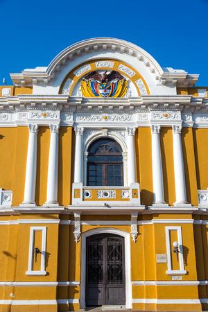 marta: City hall of Santa Marta, Colombia with a deep blue sky