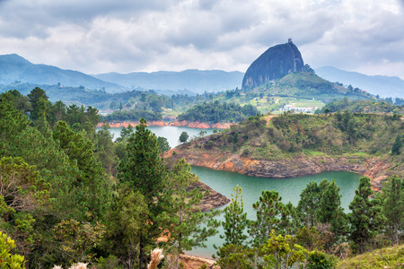 View of The Rock near the town of Guatape, Antioquia in Colombia Stock Photo