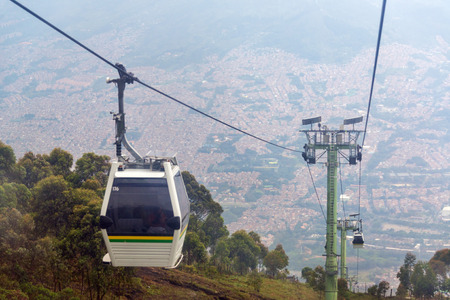 View of cable car high above Medellin, Colombia Stock Photo