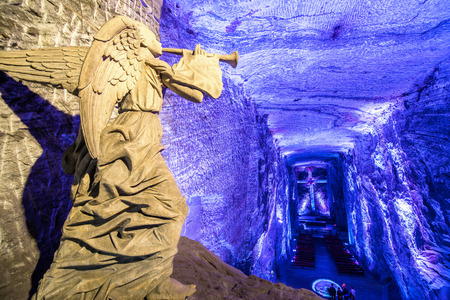 Angel inside the underground salt cathedral in Zipaquira, Cundinamarca in Colombia