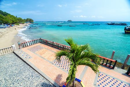 View of a boardwalk in Capurgana, Colombia overlook the Caribbean Sea photo