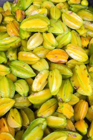 marta: Fresh starfruit for sale at a market near Santa Marta, Colombia