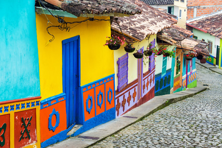 municipality: Brightly colored street in town of Guatape in Antioquia, Colombia