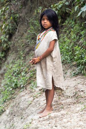 inhabits: MAGDALENA, COLOMBIA - FEBRUARY 3  Kogi Indian on February 3, 2014   The Kogi tribe inhabits the Sierra Nevada de Santa Marta mountain range near the Colombia coast Editorial