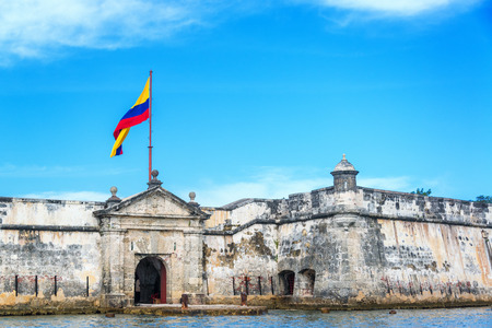 colombia flag: Front of the historic Bocachica fort near Cartagena, Colombia