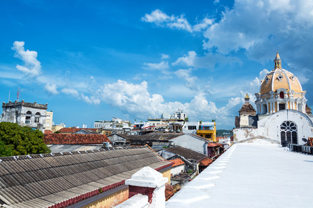 View of San Claver Church and center of Cartagena, Colombia from a rooftop photo