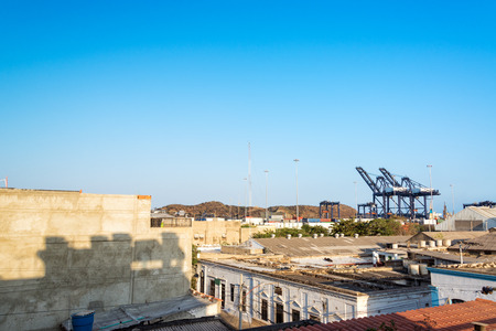 marta: View of the historic center of Santa Marta, Colombia with the port visible in the background Stock Photo