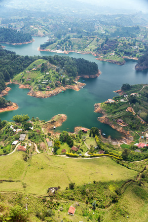 antioquia: Lake and island at Guatape in Antioquia, Colombia Stock Photo