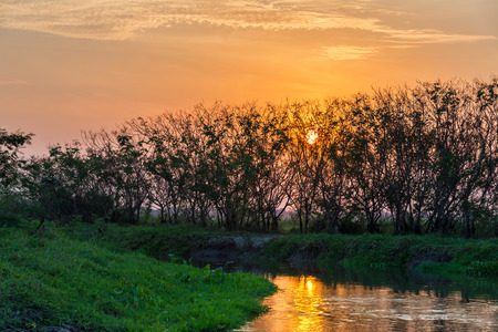sunsets: Beautiful sunset on a tributary of the Magdalena River near Mompox, Colombia
