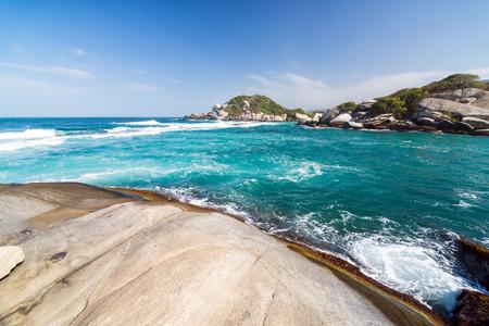 marta: Turquoise Caribbean Sea as seen in Tayrona National Park near Santa Marta, Colombia