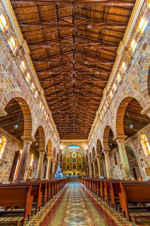 santander: View of the interior of the cathedral in Barichara, Colombia Editorial