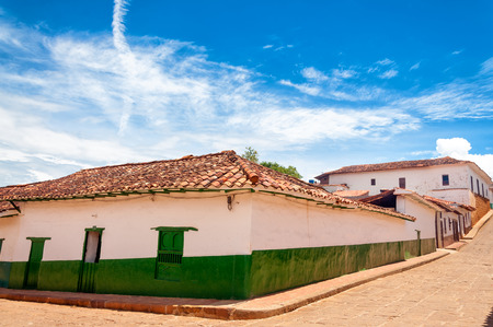 santander: Green and white colonial buildings in Barichara, Colombia