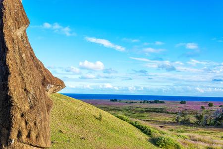 rano raraku: A single Moai looking towards the ocean on Easter Island