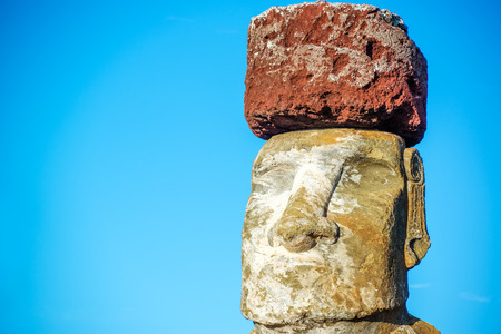 rano raraku: Closeup of a Moai on Easter Island wearing a pukao, or topknot