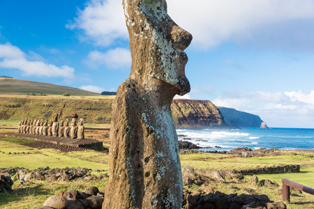 moai: One Moai in the foreground  Stock Photo