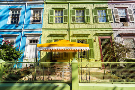 valparaiso: Colorful facades of old historic buildings in Valparaiso, Chile