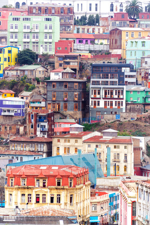valparaiso: Colorful buildings climbing up a hill in Valparaiso, Chile