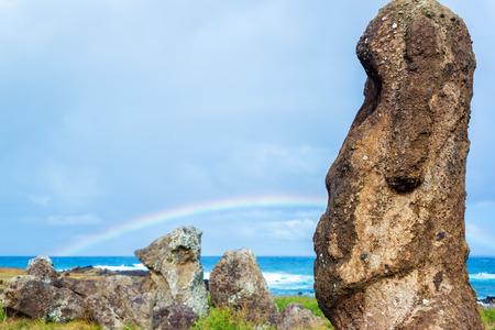 rano raraku: A Moai on Easter Island with a rainbow