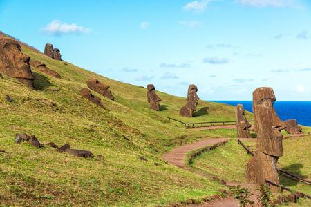 rano raraku: Various Moai visible on Easter Island at the historic site of Rano Raraku