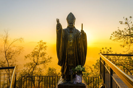 pontiff: Statue of Pope John Paul II as seen at sunset in Santiago, Chile