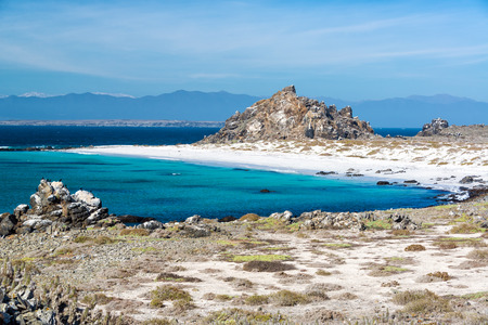 White sand beach and turquoise water at Damas Island near La Serena, Chile