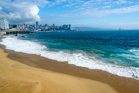 Deserted beach and beautiful turquoise Pacific Ocean water in Vina del Mar, Chile