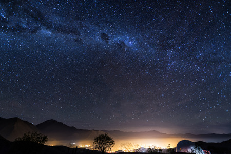 View of the Milky Way over the Elqui Valley in Chile Stock Photo