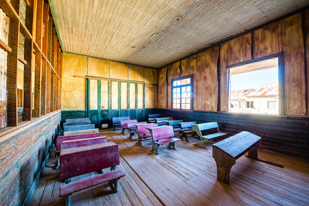 school building: Restored schoolhouse in the UNESCO World Heritage ghost town of Humberstone, Chile