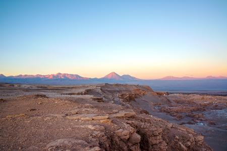 san pedro: Sunset in San Pedro de Atacama with a view of Licancabur Volcano in Chile Stock Photo