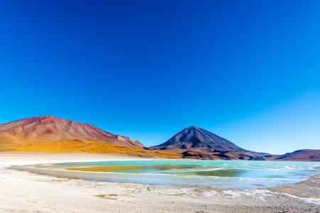 atacama: Wide angle view of Laguna Verde, or Green Lake, at the base of Licancabur Volcano