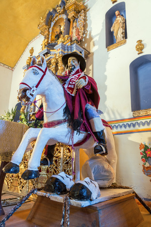 slayer: Statue of Saint James the Moor Slayer in an old historic chapel in rural Bolivia