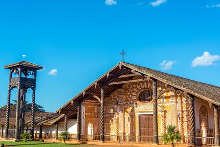 볼리비아 Concepcion에있는 예수회 선교 교회 스톡 콘텐츠