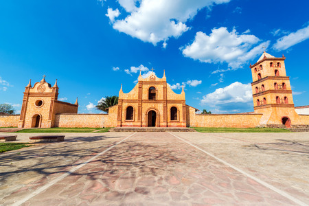 Church, chapel, and bell tower of the in San Jose de Chiquitos, Bolivia