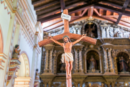 jesuit: Closeup view of Jesus on the cross in the  Mission in San Ramon, Bolivia