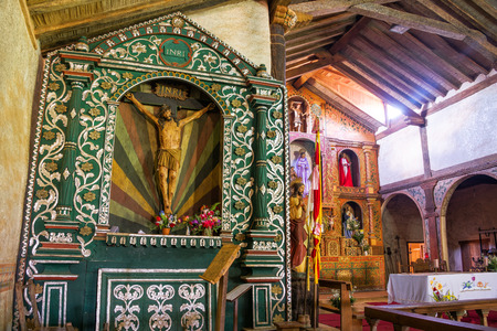 jesuit: Statue of Jesus and the altar in the UNESCO World Heritage Jesuit Mission in Santa Ana, Bolivia