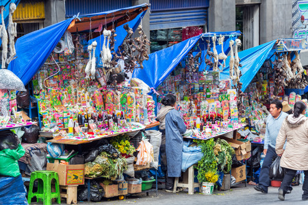 LA PAZ, BOLIVIA - AUGUST 13:  View of the Witches Market, which sells llama fetuses among other things in La Paz on August 13, 2014