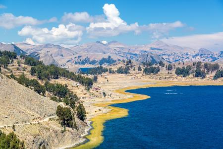 Dramatic view of the stunning landscape of Lake Titicaca near Copacabana, Bolivia photo
