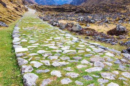 inca: Ancient paved Incan road on the El Choro trek in the Andes mountains near La Paz, Bolivia Stock Photo
