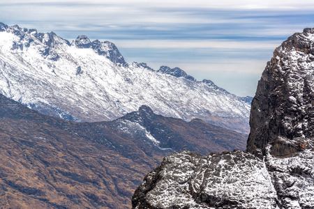 View of the Andes mountains in the Cordillera Real near La Paz, Bolivia
