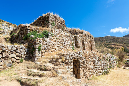 incan: Palace of the Inca, ancient Incan ruins on Isla del Sol on Lake Titicaca in Bolivia Stock Photo