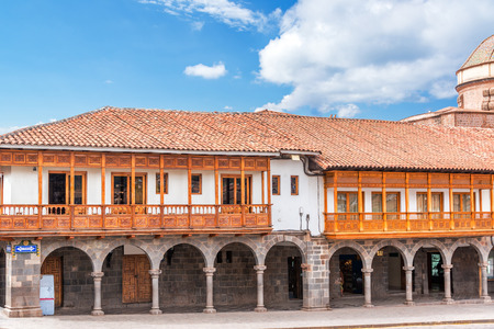 peru architecture: Arches and architecture on the Plaza de Armas of Cusco, Peru