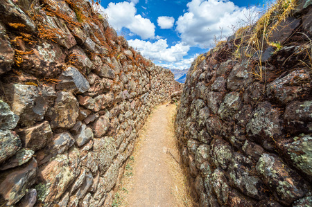 cuzco: Narrow passage in the ruins of Pisac in the Sacred Valley near Cusco, Peru