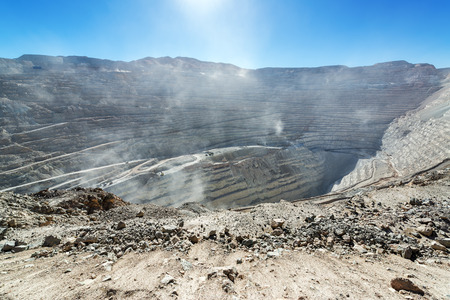 View of the open pit copper mine of Chuquicamata, Chile