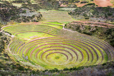 moray: Concentric circles of the old Inca ruins of Moray in the Sacred Valley near Cusco, Peru