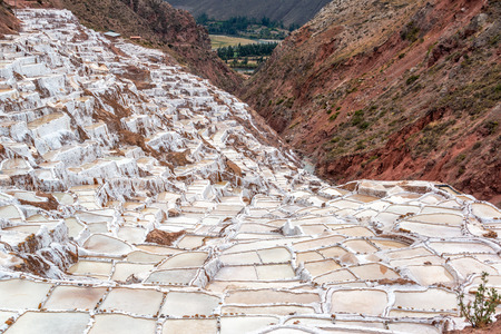 cuzco: Pools for producing salt near the town of Maras in the Sacred Valley near Cusco, Peru Stock Photo