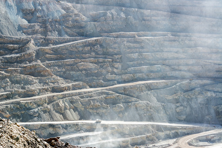 open pit: View of the open pit copper mine of Chuquicamata, Chile